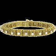Vintage Hammerman Brothers Diamond 18k Gold Line Tennis Bracelet