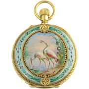 SALE PENDING Antique Art Nouveau 18k Gold Enamel Diamond A Golay Leresche and Fils Bird and Fr
