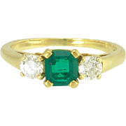 Tiffany Asscher Cut Emerald Diamond 18k Gold Designer Signed Ring