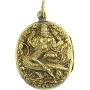 Antique Victorian 18k Gold Indian Goddess Lakshmi Peacock Repousse Figural Locket - Wealth and