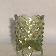 Fenton Green Hobnail Toothpick Holder