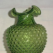 SALE Green Hobnail Vase With Swirled Neck And Rolled Top Edge