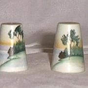 Hand Painted Cone Shaped Salt And Pepper Shakers
