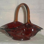 Ruby Glass Basket With Amberina Upper Edge