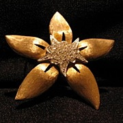 Star Shaped Pin With Rhinestone Encrusted Center