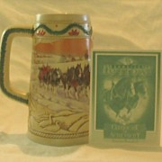 "Budweiser Holiday Stein Titled, ""American Homestead"" 1996"