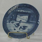 "Royal Copenhagen 1969 Christmas Plate ""In The Old Farmyard"""