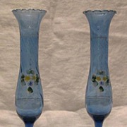 Pair Of Light Blue Glass Bud Vases From Mexico