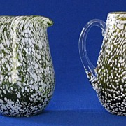 Pair Of Art Glass Spatter Creamers