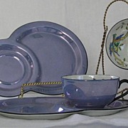 Pair Of Noritake Blue Luster Snack Sets
