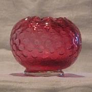 Fenton Glass Cranberry Colored Rose Bowl