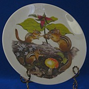 """SOLD Halbert's Inc. """"Chipmunks And Trilliums"""" Mothers Day Plate"""