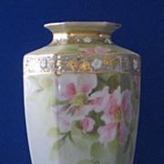 Noritake Nippon Hexagonal Hand Painted Vase