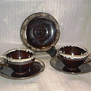 SALE Japanese Red Ware Cups and Saucers