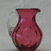 Cranberry Glass Creamer With Attached Ribbed Handle