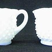 Fenton Star Crimped Hobnail Milk Glass Sugar And Creamer