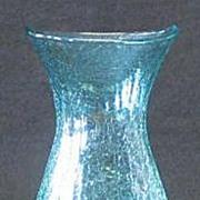 Pale Green Unmarked Crackle Glass Vase