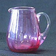 Cranberry Glass Creamer With Attached Clear Handle