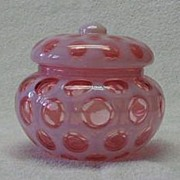 Fenton Cranberry Coin Dot Covered Candy Dish