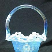 Fenton Light Blue Iridescent Basketweave Pattern Basket