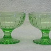 Set Of Four Hazel Atlas Ribbon Green Depression Sherbets