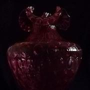Large Fenton Cranberry Coin Dot Vase