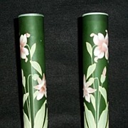 Pair Of Enamel Decorated  Green Vases