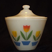 Fire King Tulip Pattern Covered Grease Jar