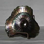 Unmarked Carnival Glass Stippled Ray Candy Dish