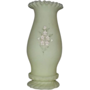 Fenton Satin Glass Hand Decorated Hurricane Lamp