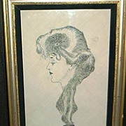 "Gibson Girl India Ink Drawing- ""The Eternal Question"""