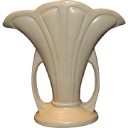 "Hull White ""Mardi Gras"" Handled Vase"