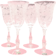 "Set Of Four Cambridge ""Rose Point"" Water Goblets"