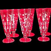 Set Of Six Polka Dot Decorated Pilsner Glasses