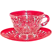 """Pair of Fostoria """"American"""" Cups And Saucers"""