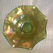 SOLD Northwood Green Blossom And Shell Carnival Bowl