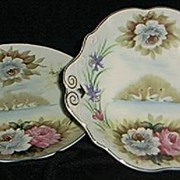 SALE Hand Painted Swan Plate/ Bolted Compote Set