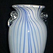 SALE Blue and White Striped Art Glass Vase