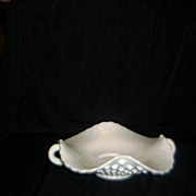 Fenton Two Handled Hob Nail, Milk Glass Candy Dish