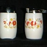 SALE Floral Milk Glass Creamer And Sugar Shaker