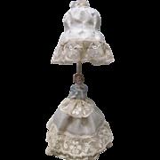 Vintage German Porcelain Half Doll Boudoir Bedroom Salon Lamp Night Light wire base umbrella .