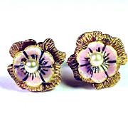 SALE MUSEUM-WORTHY Queen Anne Enamel/22k Flower Earrings, c.1710!