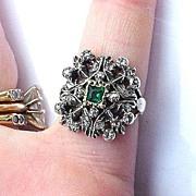 SALE REGAL Victorian Tudor Revival Rose-Cut Diamond/Emerald Paste/15k Ring, 5.5 Grams, c.1855!