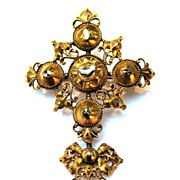SALE IMPORTANT Pre-Georgian 22k/Rose-Cut Diamond Cross and Bow Pendant/Brooch w/Published ...