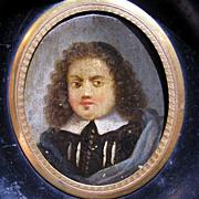 SALE DIVINE French Oil on Copper Portrait Miniature of a Puritan or Huguenot Gentleman, c ...