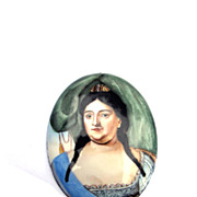 SALE LIFETIME Enamel on Copper Portrait of Empress Anna of Russia, c.1730!