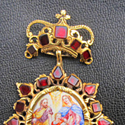 "SALE MASTERPIECE Baroque Double-Sided Enamel on Copper/Garnet/22k ""Holy Family"" Pend"