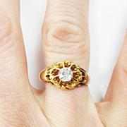 SALE DAZZLING Victorian 1/2 Ct. OMC Diamond Solitaire/15k Ring, c.1880!