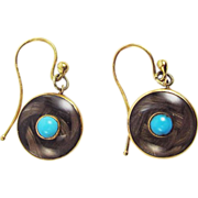SALE RARE & MINT Early Victorian Hair Token/Crystal/Turquoise/15k Earrings, c.1840!