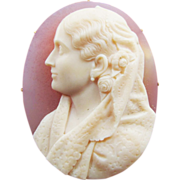 SALE MASTERPIECE Pink Onyx/22k Portrait Cameo Brooch of a Lady Signed by Publio de Felici, c.1